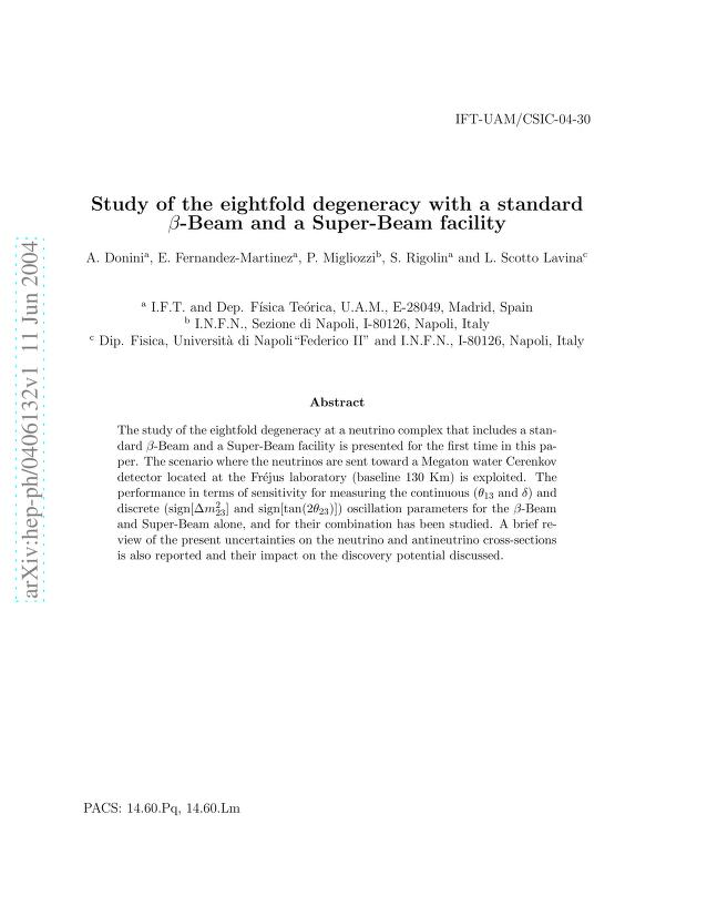 A. Donini - Study of the eightfold degeneracy with a standard $β$-Beam and a Super-Beam facility